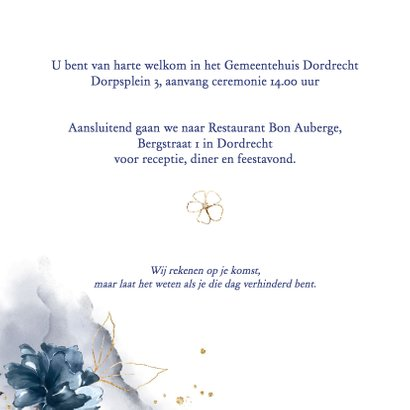Trouwkaart rozen blauw-goud 3