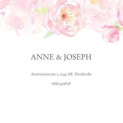 Trouwkaart rozenrand in pastel op wit 2