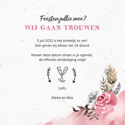 Trouwkaart save the date bohemian met waterverf bloemen 3