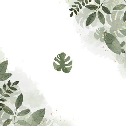 Trouwkaart save the date botanisch met waterverf Achterkant