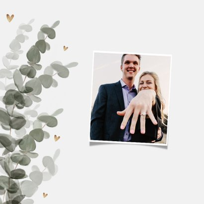 Trouwkaart save the date eucalyptus goud hartjes 2