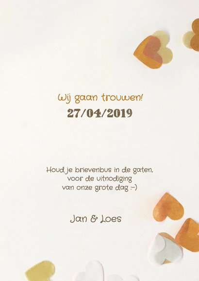 Trouwkaart save the date golden 3