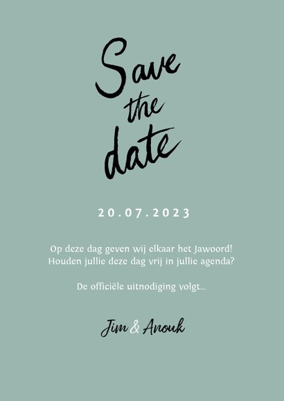Trouwkaart save the date hip kalender hartjes 3