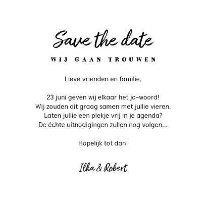 Trouwkaart save the date kraft label vintage 3