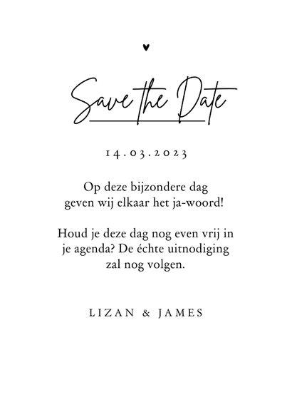 Trouwkaart save the date lijntekening pastel hartjes 3