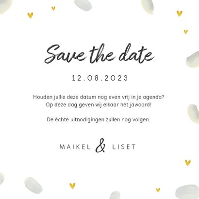 Trouwkaart save the date romantisch met veren en hartjes 3