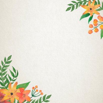 Trouwkaart Stijlvol bloemen retro Achterkant