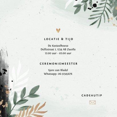 Trouwkaart stijlvol botanisch goud waterverf 2