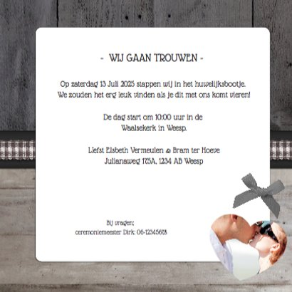 Trouwkaart Stijlvol Hout Foto's 3