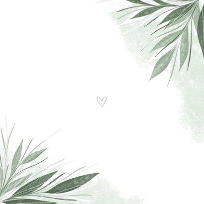 Trouwkaart stijlvol jungle bladeren met waterverf Achterkant
