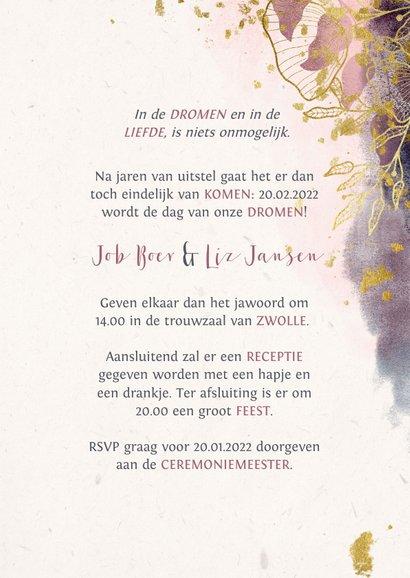 Trouwkaart stijlvol met waterverf en gouden bloemen 3