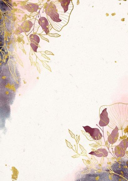 Trouwkaart stijlvol met waterverf en gouden bloemen Achterkant