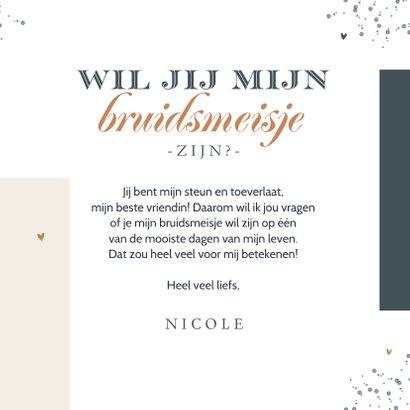 Trouwkaart stijlvol modern grafisch getuige bruidsmeisje  3