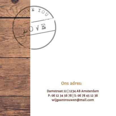 Trouwkaart stoer hout met foto 2