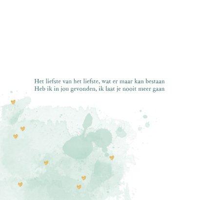 Trouwkaart tekst aquarel hartjes goud  2