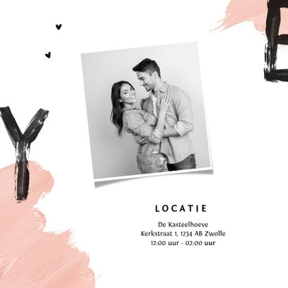 Trouwkaart uitnodiging bruiloft hip verf yes hartjes 2
