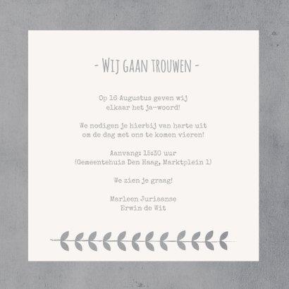 Trouwkaart uitnodiging koren  3
