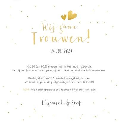 Trouwkaart uitnodiging met een gouden tekst Ja en eigen foto 3