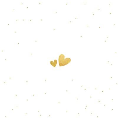 Trouwkaart uitnodiging met een gouden tekst Ja en eigen foto Achterkant