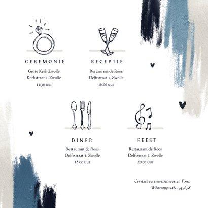 Trouwkaart uitnodiging stijlvol blauw verf hartjes foto 2