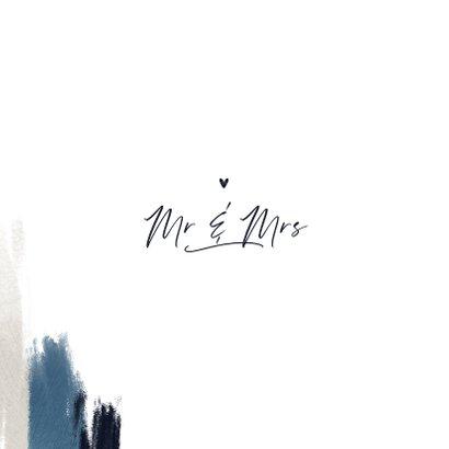 Trouwkaart uitnodiging stijlvol blauw verf hartjes foto Achterkant