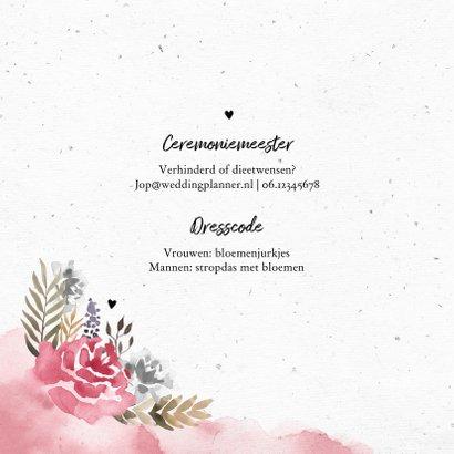 Trouwkaart uitnodiging vintage bohemian  waterverf bloemen 2