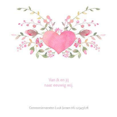 Trouwkaart waterverf in roze waterverf en rozen 2