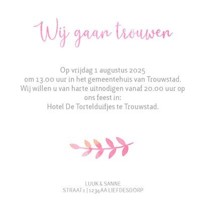 Trouwkaart waterverf in roze waterverf en rozen 3
