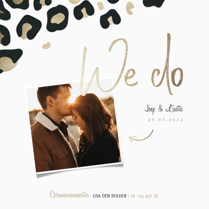 Trouwkaart 'We do' panterprint goudlook met foto 2