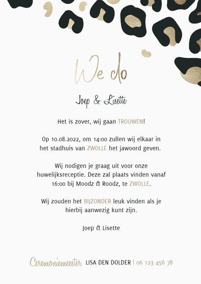 Trouwkaart 'We do' panterprint goudlook 3