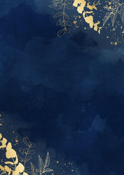 Trouwkaart We say Yes blauwe waterverf gouden plantjes Achterkant