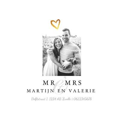 Trouwkaart wedding stijlvol en klassiek met goud en foto 2