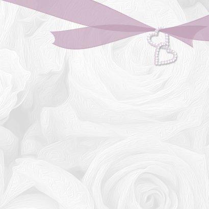 Trouwkaart witte rozen en lint 3