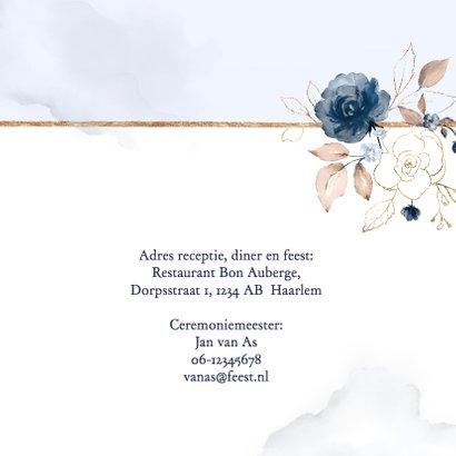 Trouwkaart 'Yes' rozen blauw en goud 2