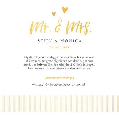 Trouwkaart YES stijlvol  goud met hartjes 3
