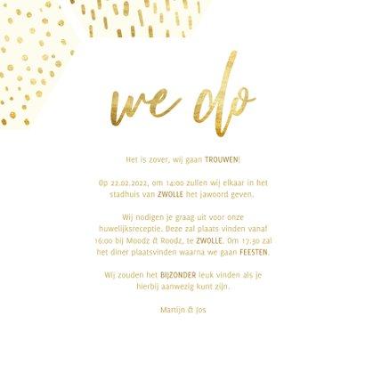 Trouwkaart zeshoek fotocollage met gouden confetti 3