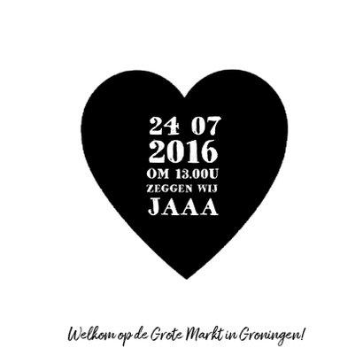 Trouwkaart zwart wit hart 3