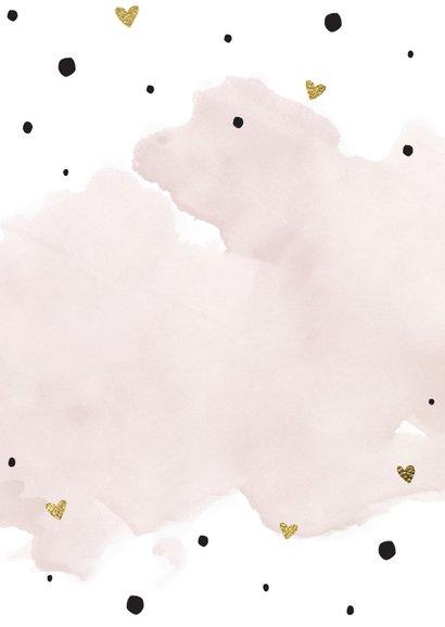 Trouwmenu aquarel roze goudfolie Achterkant