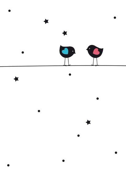 Tweeling jongen en meisje vogeltjes op ballon 2