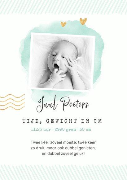 Tweeling paspoort geboortekaartje unisex waterverf goud 2