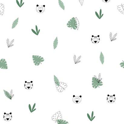 Uitnodiging 1 jaar jungle patroontje met foto Achterkant