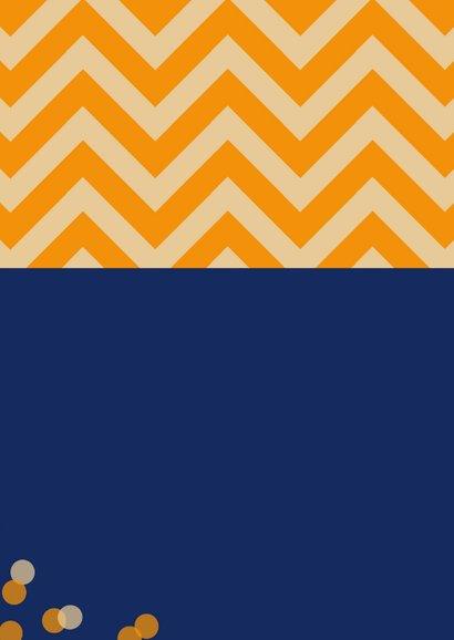 Uitnodiging 16 jaar zigzag met blauw oranje 2