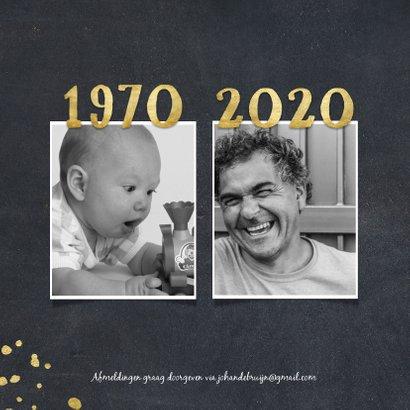 Uitnodiging 1970 met foto's en gouden spetters 2