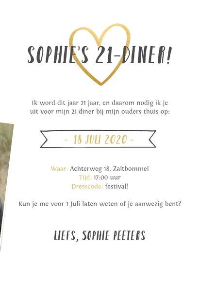 Uitnodiging 21-diner fotocollage met gouden hartjes 3