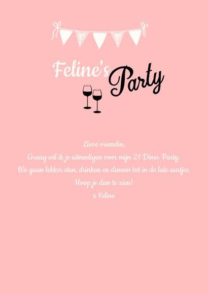 Uitnodiging 21 diner naam, leeftijd en kleur aanpasbaar 3