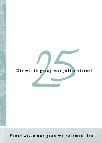 Uitnodiging 25ste verjaardag met speelse opmaak 2