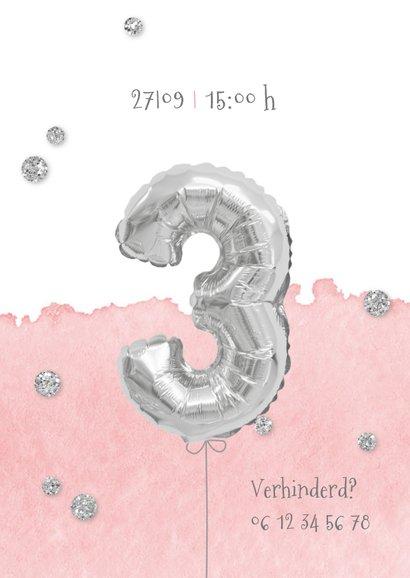 Uitnodiging 3 jaar eigen foto en folieballon 2