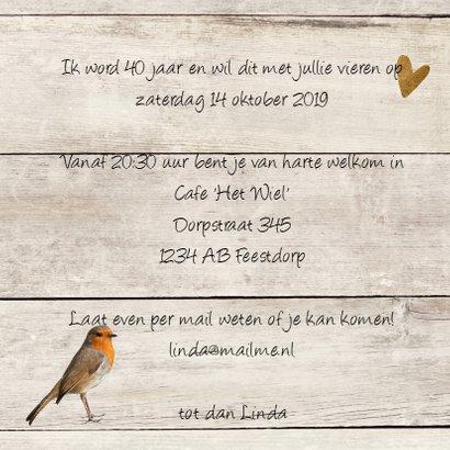 uitnodiging 40 jaar  - hout print LO 3