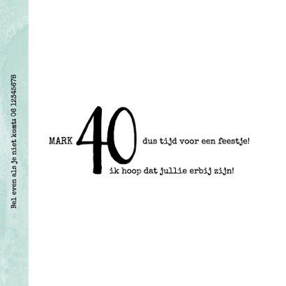 Uitnodiging 40ste verjaardag, modern en stoer met foto 2