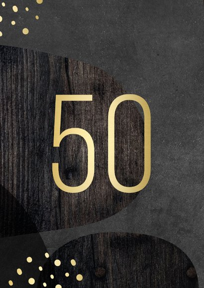 Uitnodiging 50 jaar goud met hout en krijtbord abstract 2